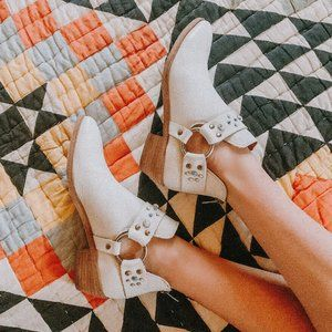 NWOB Frye White Embellished Ankle Booties